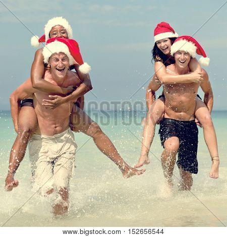 Christmas Santa Hat Vacation Travel Beach Concept