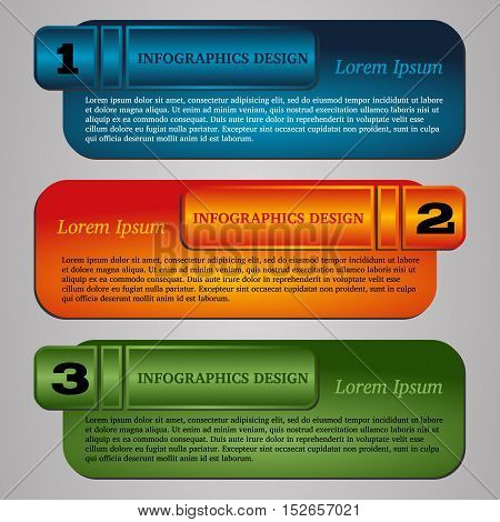 Vector illustration infographic template with step. Colorful bookmarks and banners for text.