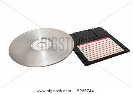 Floppy Disc and Compact Disc isolated on white