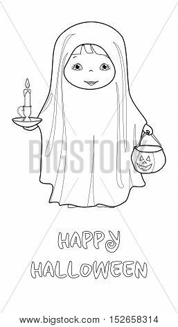 Halloween Boo cartoon vector coloring page with cute kid in ghost costume