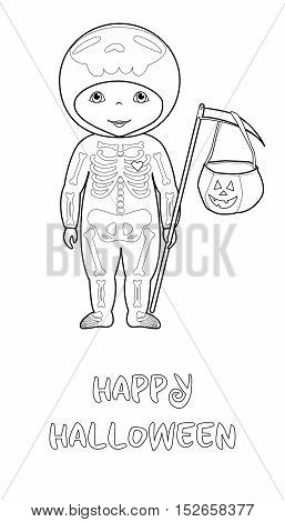 Happy Halloween cartoon vector coloring page with cute kid in skeleton costume