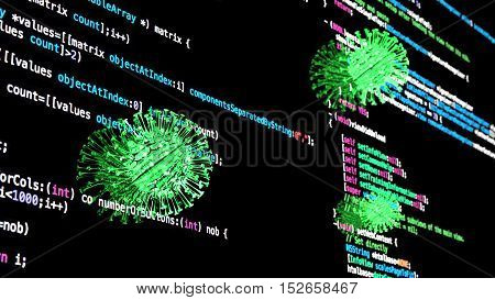 Sphere green virus infects computer screen displaying computer code 3D illustration