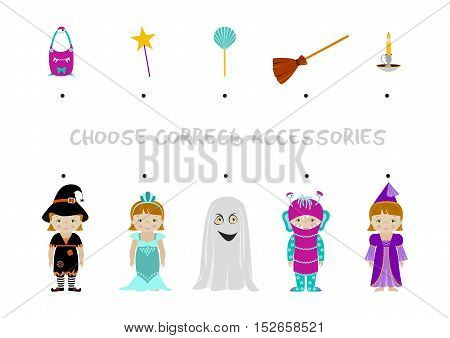 Halloween themed logic matching game for kids, Choose correct accessories for girl dressed in costumes of witch, mermaid, ghost, monster and fairy. A4 format ready for print.