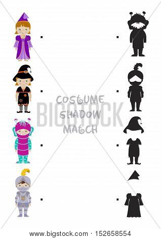 Halloween themed logic shadow matching game for kids, Choose correct dress shadow for children dressed in costumes of fairy, witch, monster and knight. A4 format ready for print.