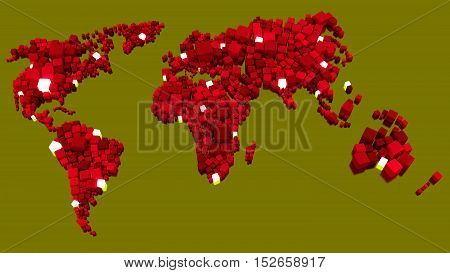 Glowing world map made of red boxes with white nodes in different sizes big data network 3D illustration concept