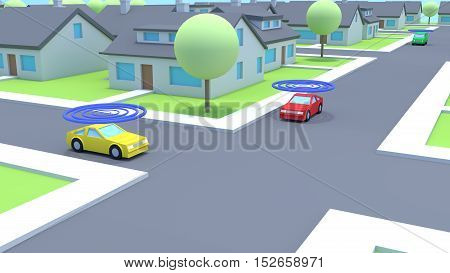 Small village low poly traffic scene with cars emitting waves to communicate connected smart intelligent future car concept 3D illustration