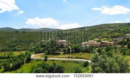 Panoramic noon of the Catalan Pyrenees and the Perves village. Pallars zone. spain