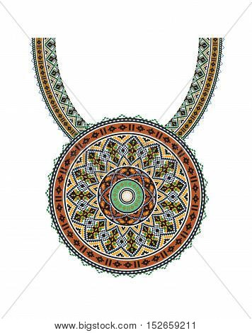 Vector Ethnic necklace Embroidery for fashion women. Pixel tribal pattern for print or web design. jewelry, necklace, print on fabric.