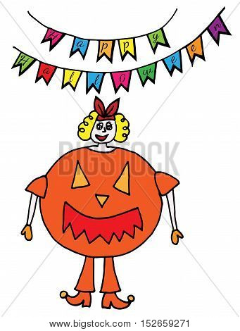 Colorful girl is in the suit of pumpkin. A pumpkin is in the suit of girl. Festive garland with inscription Yappy Halloween.