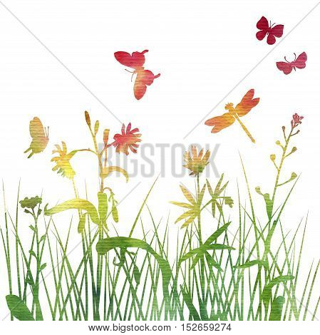 multicolor silhouettes of flowers and grass with butterflies and dragonfly, watercoolor background with wild plants and insects, herbal backdrop, color floral template, hand drawn illustration