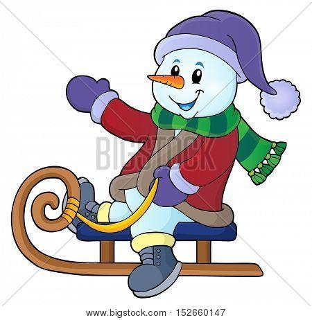 Snowman on sledge theme image 1 - eps10 vector illustration.
