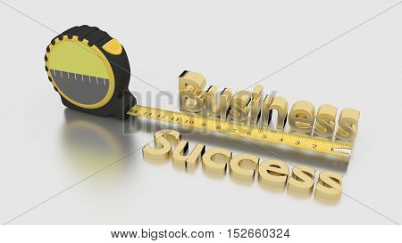 Tape placed next to the golden words business success measure growth concept 3D illustration on white
