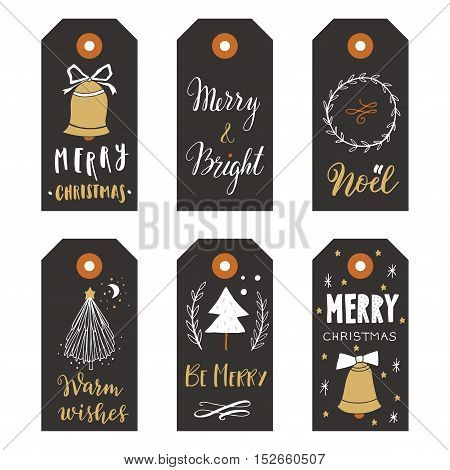Hand drawn Christmas holiday gift tags collection with calligraphy hand lettering decoration elements and doodles. Set of 6 printable labels on white background.
