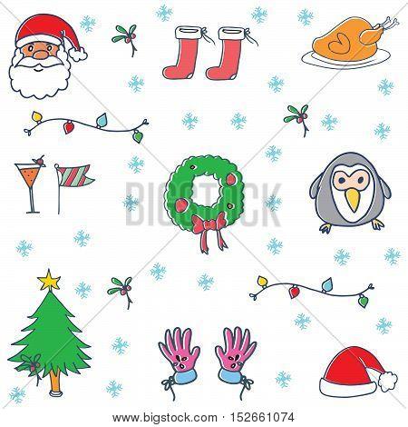 Doodle of christmas set object vector illustartion