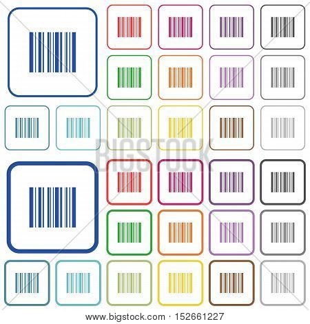 Set of barcode flat rounded square framed color icons on white background. Thin and thick versions included.
