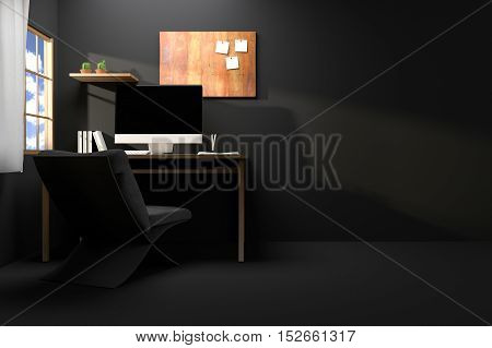 3D Rendering : illustration of modern creative workplace.PC monitor on wooden table.translucent curtain and glass window with sunlight shining from the outside.morning or sunset lighting
