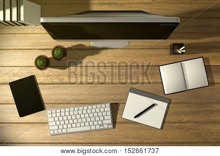 3D Rendering : illustration of top view modern creative workplace.PC monitor on wooden table.sunlight shining from the outside
