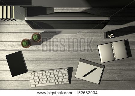 3D Rendering : illustration of top view modern creative workplace.PC monitor on white wooden table.sunlight shining from the outside