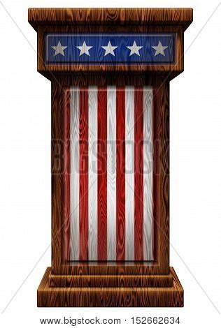 Patriotic Wooden Podium 3D Illustration