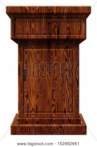 Wooden Podium 3D Illustration