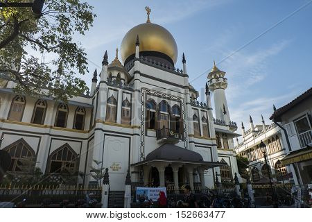 Sultan Mosque Singapore September 16 2016:- The oldest Mosque located at Muscat Street and North Bridge Road Within Kampong Glam precinct of the district of Rochor in Singapore.