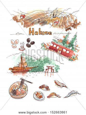 Hakone atttractions watercolor illustration. Hot spring ropeway Ashi lake and black eggs