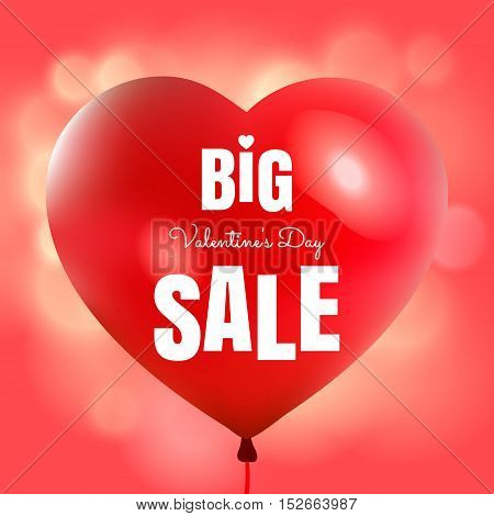 Happy Valentine's Day big sale card with red pink realistic banner balloons in form of heart isolated on pink blurred glowing background. Vector illustration EPS 10