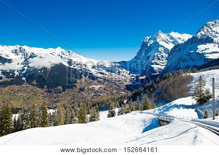 View Of Valley And Mountains In Switzerland