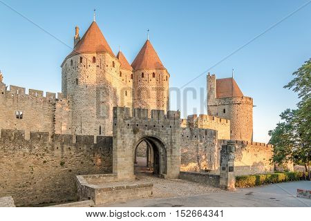 View at the Narbonnaise Gate to Old City of Carcassonne