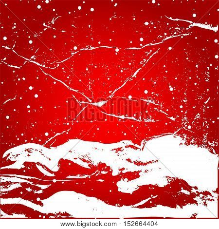 White snow with snowflakes on a red background banner vector. Winter sale. Christmas Sale. New year sale. Old style, retro, vintage