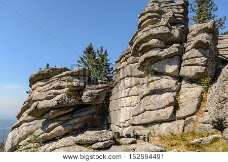 Granites and boulders in the nature reserve Dreisesselberg region where three countries meet