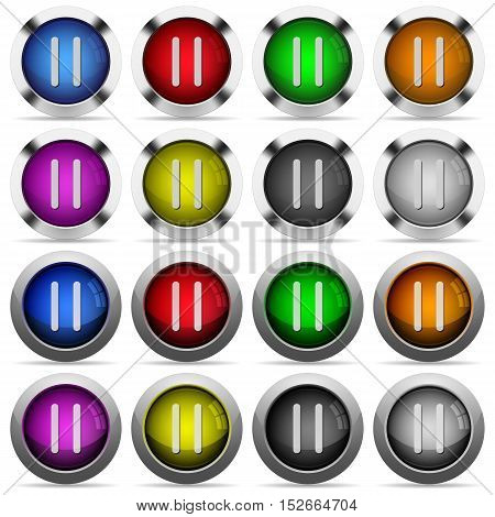 Media pause color glass buttons in metal frames