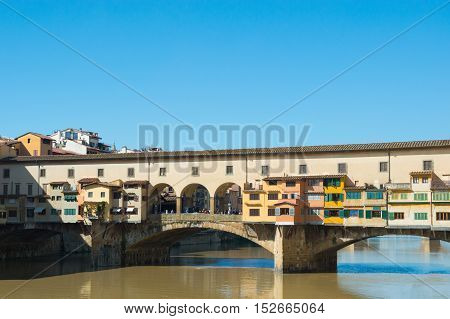 Ponte Vecchio on Arno river in Florence Italy