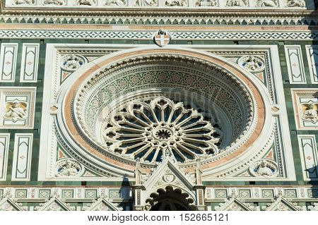 Detail of Santa Maria del Fiore cathedral in Florence Italy
