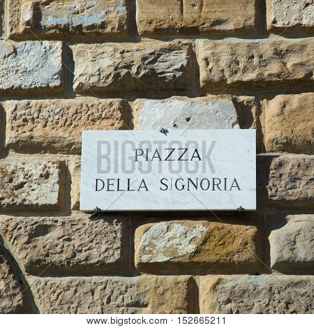 Street sign of Piazza della Signoria - Florence Italy