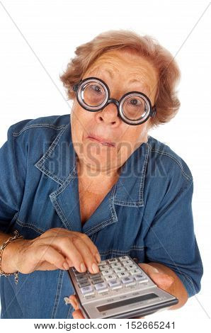 Funny elderly woman with calculator on white background.