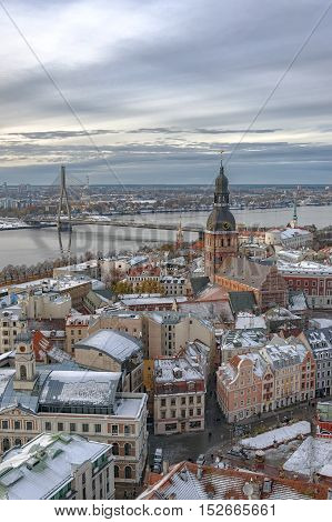 Aerial view of the old town from St. Peter church in Riga Latvia.