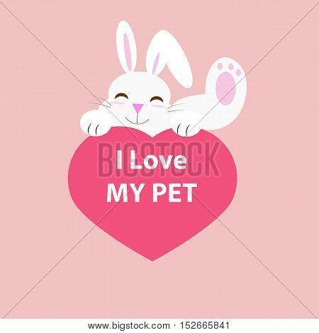 I love my pet rabbit and heart vector