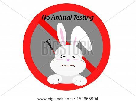 not tested on animal concept, vector sign