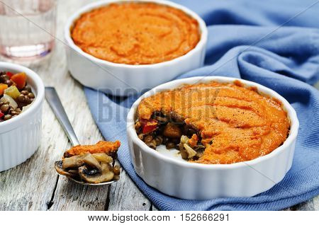 vegan green lentil mushroom sweet potato Shepherds pie