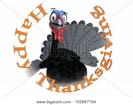 A funny silly looking cartoon turkey smiling and looking very happy inside the text