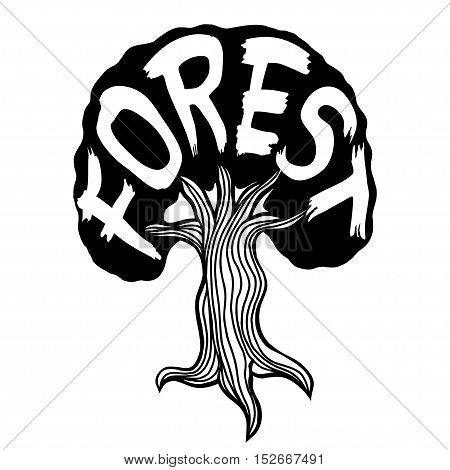 Background with abstract tree with word Forest. Vector image, Monochrome Hand drawn sketch illustration