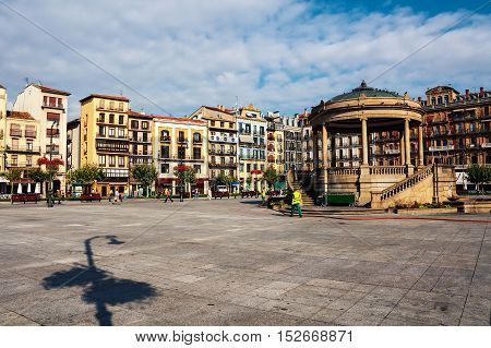 Town center square of Pamplona Spain in the morning. City is the capital of Navarre Province and famous for it's Bull Run