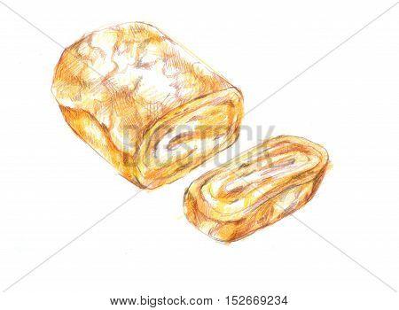 Fresh Tamagoyaki, Japanese Sweet Egg Roll Grill Drawing Illustration