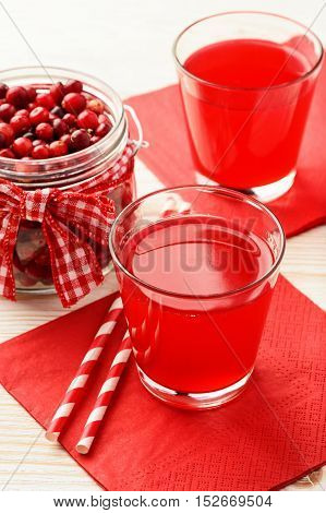 Cranberry kissel in glasses on white table.