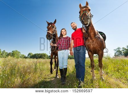 Portrait of loving couple holding hands and walking in flowery meadows with their beautiful bay horses