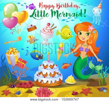 Cute birthday design elements for a party in style of the little mermaid