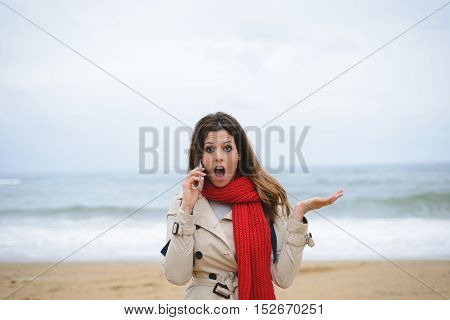 Woman In Trouble On Smartphone