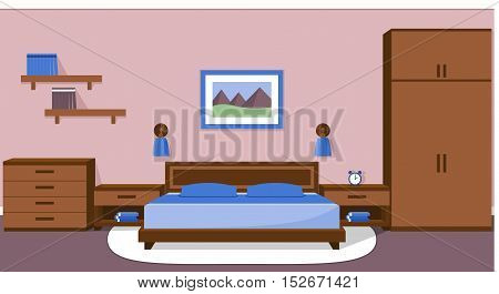 The interior of cozy bedroom in blue and brown colors. Vector illustration.
