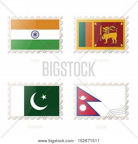 Postage Stamp With The Image Of India, Sri Lanka, Pakistan, Nepal Flag.